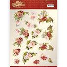CD11504 3D knipvel - Precious Marieke - Touch of Christmas - Pink Flowers