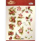 CD11501  3D knipvel - Precious Marieke - Touch of Christmas - Red Flowers