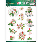 3D Push Out - Jeanines Art Christmas Flowers - Pink Christmas Flowers SB10481