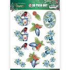 3D Push Out - Jeanines Art Christmas Flowers - Christmas Lantern SB10480
