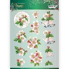 3D knipvel - Pink Christmas Flowers -  Jeanines Art  CD11558