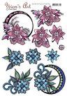 3D Knipvel Yvon's Art - Blue and Pink Swirls - CD11413
