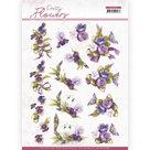 CD11582-HJ18901 3D knipvel  Precious Marieke - Pretty Flowers - Flowers and Swan