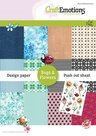 CraftEmotions Design Paper Bugs & flowers 12 vel + push out vel - A5