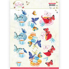 3D Cutting Sheet - Jeanine's Art - Butterfly Touch - Blue Butterfly CD11659