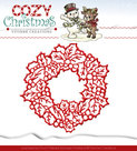 YCD10035 Snijmal Yvonne Creations Cozy Christmas Wreath
