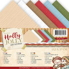 YC-4K-10011 Linnenkarton vierkante kaart Holly Jolly Yvonne Creations