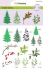 130501-2001 CraftEmotions Step clearstamps A5 - kerstbomen, takken Christmas Nature