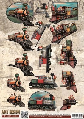 CD10849 3D Knipvel - Amy Design - Vintage Vehicles - Trains