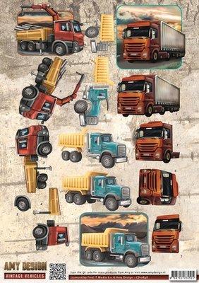 CD10848 3D Knipvel - Amy Design - Vintage Vehicles - Trucks