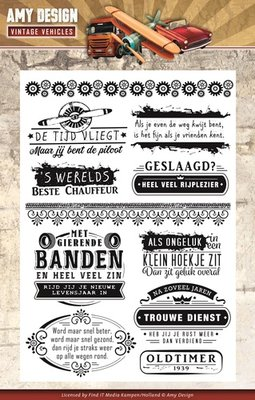 ADCS10013 Clearstamp - Amy Design - Vintage Vehicles - Tekst