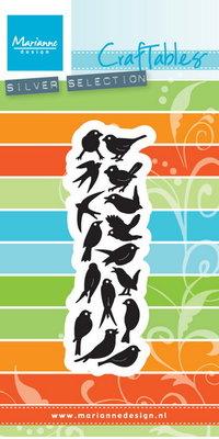 CR1398 Craftables stencil punch die birds Marianne Design
