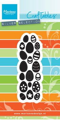 CR1399 Craftables stencil punch die eggs Marianne Design