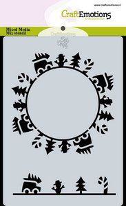 185070-0119 CraftEmotions Mask stencil Christmas -circle cars Carla Creaties