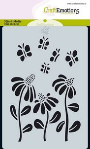 185070-0112 CraftEmotions Mask stencil Bugs - bloem A6 Carla Creaties