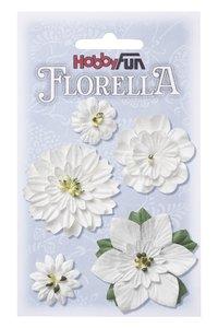 Florella papieren bloemen 2-5 cm wit 3866061