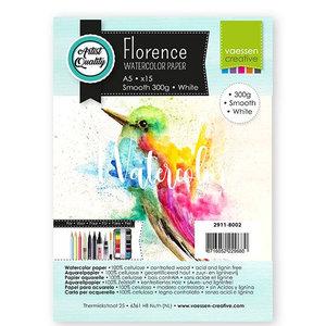 2911-8002 Florence • Aquarelpapier smooth White A5  15pcs  300g
