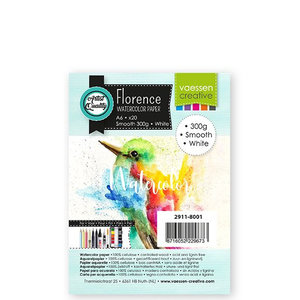 2911-8001 Florence • Aquarelpapier smooth White A6 20pcs 300g