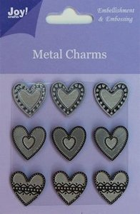 6350-0104 Metal charms Joy! craft hartjes