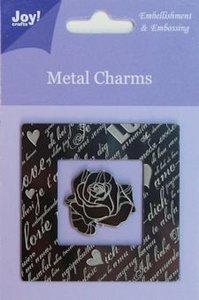 6350-0100 Metal charms vierkant - roos