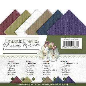 PM-4K-10014 Linnenkarton vierkant Precious Marieke Fantastic Flowers