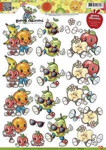 CD10371 3D Knipvel - Yvonne Creations - Opkikker - Fruitpoppetjes