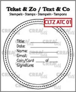 Crealies Clearstamp Tekst & Zo tekst voor ATC-AT Coin CLTZATC01