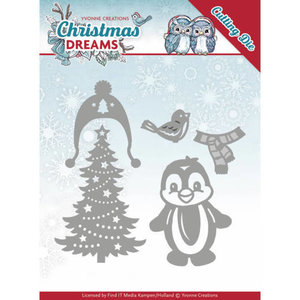 YCD10144 Snijmal Yvonne Creations Christmas Dreams -  Penguin