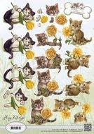 CD10537 3D knipvel Amy Design Animal Medley Kittens