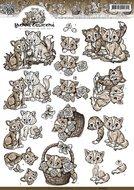 CD10627 Knipvel Bruine katjes Yvonne Creations