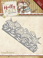 YCD10069 Snijmal Holly Jolly Snowflake Border Yvonne Creations